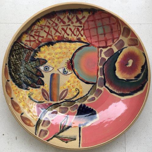 Hooker's hug, porcelain plate, 20 inches diameter, 2017 fired.