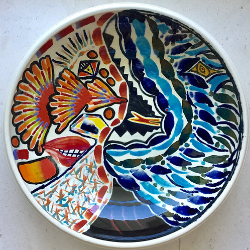 DragonShark, porcelain plate, 20 inches diameter, 2017 fired.