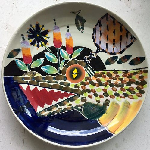 Alligator, porcelain plate, 20 inches diameter, 2017 fired.