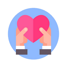 hands-hols-heart-icon-on-blue-round-back