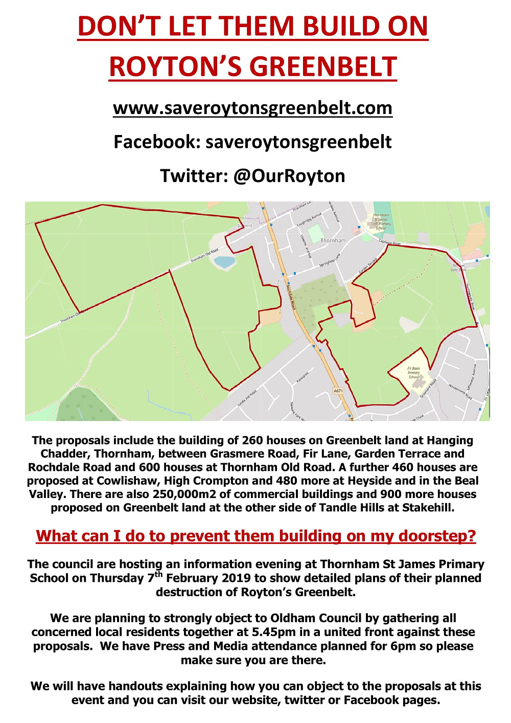 Don't let them build on Royton's greenbelt flyer
