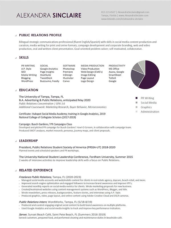 Resume PR Public Relations