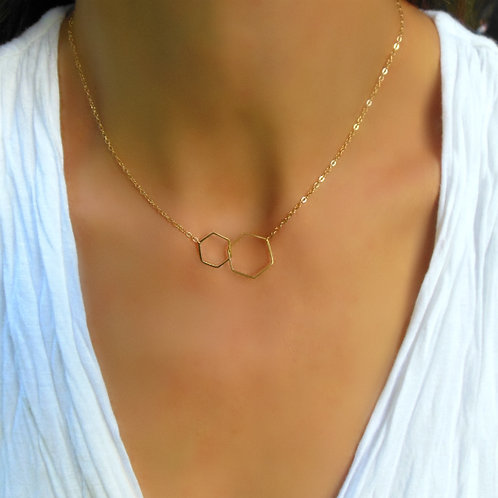Double Hex Necklace, Gold