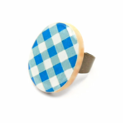 Gingham Cocktail Ring