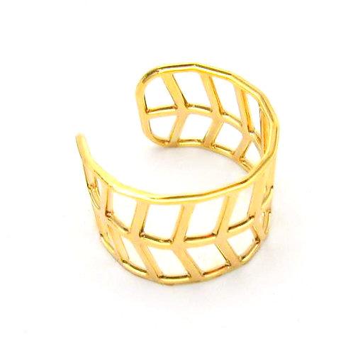 Geo Leaf Ring, Gold