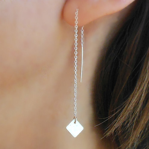 Threader Earrings, Silver Squares