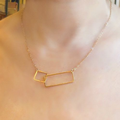 Double Rectangle Necklace, Gold