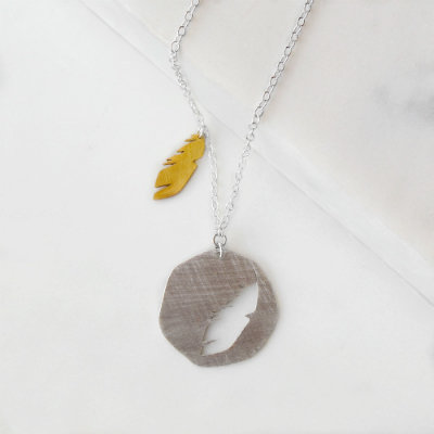 Feather Necklace, Silver With Gold Charm