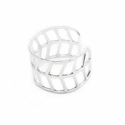 Geo Leaf Ring, Silver