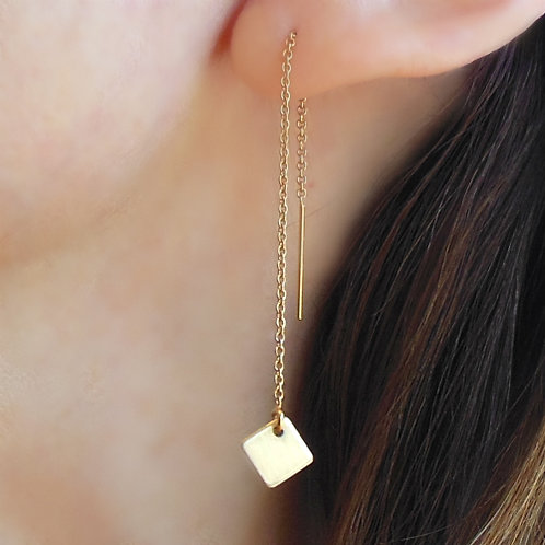 Threader Earrings, Gold Squares