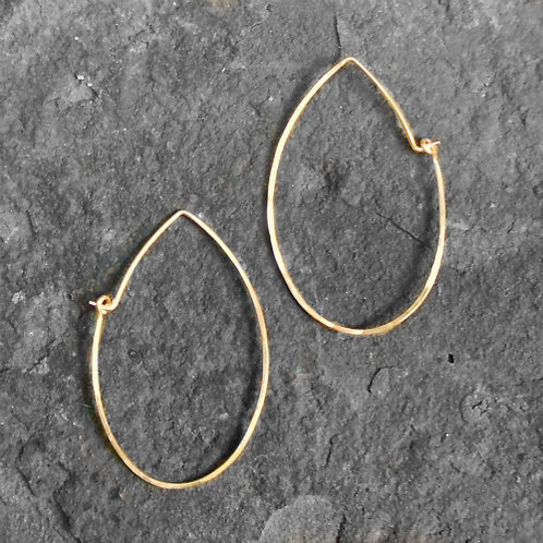 Teardrop Hoops Gold, Large
