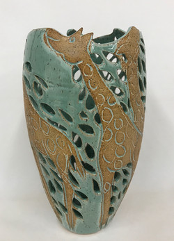 Green and Brown Giraffee Pot