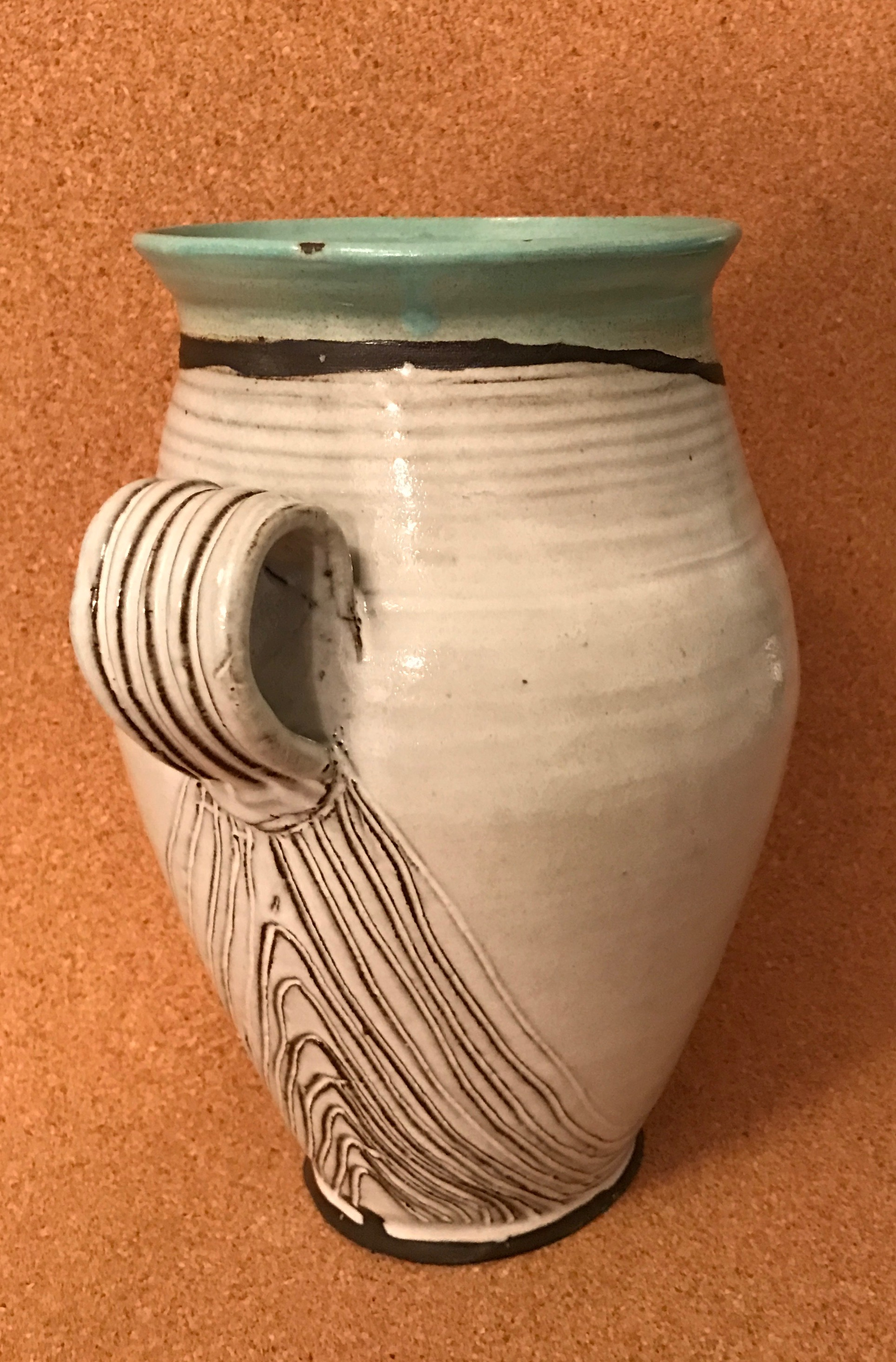 gray and green vase
