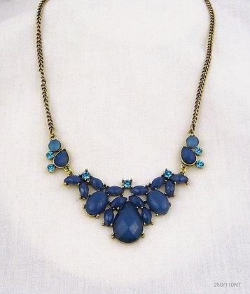 Blue Statement Cluster Necklace