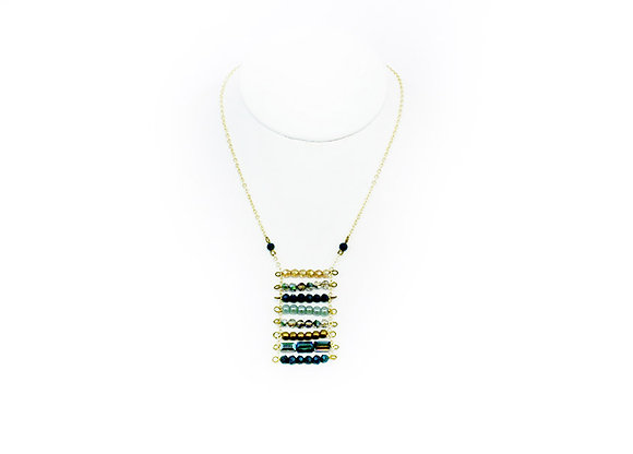 "18"" Gold with Turquoise Ladder Bead Necklace"
