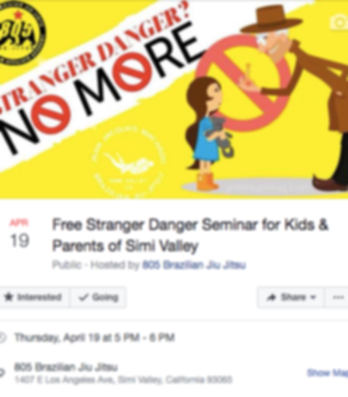 April 19th free stranger danger seminar at 5pm thursday at Jean Jacques Machdo Jiu Jitsu Academy Simi Valley Martial Arts
