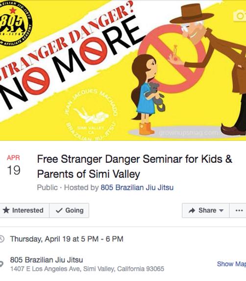 April 19th free stranger danger seminar at 5pm thursday at Jean Jacques Machdo Jiu Jitsu Academy Simi Valley Martial Arts
