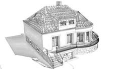 Perspective 3D extérieure - ESQ - Charpente