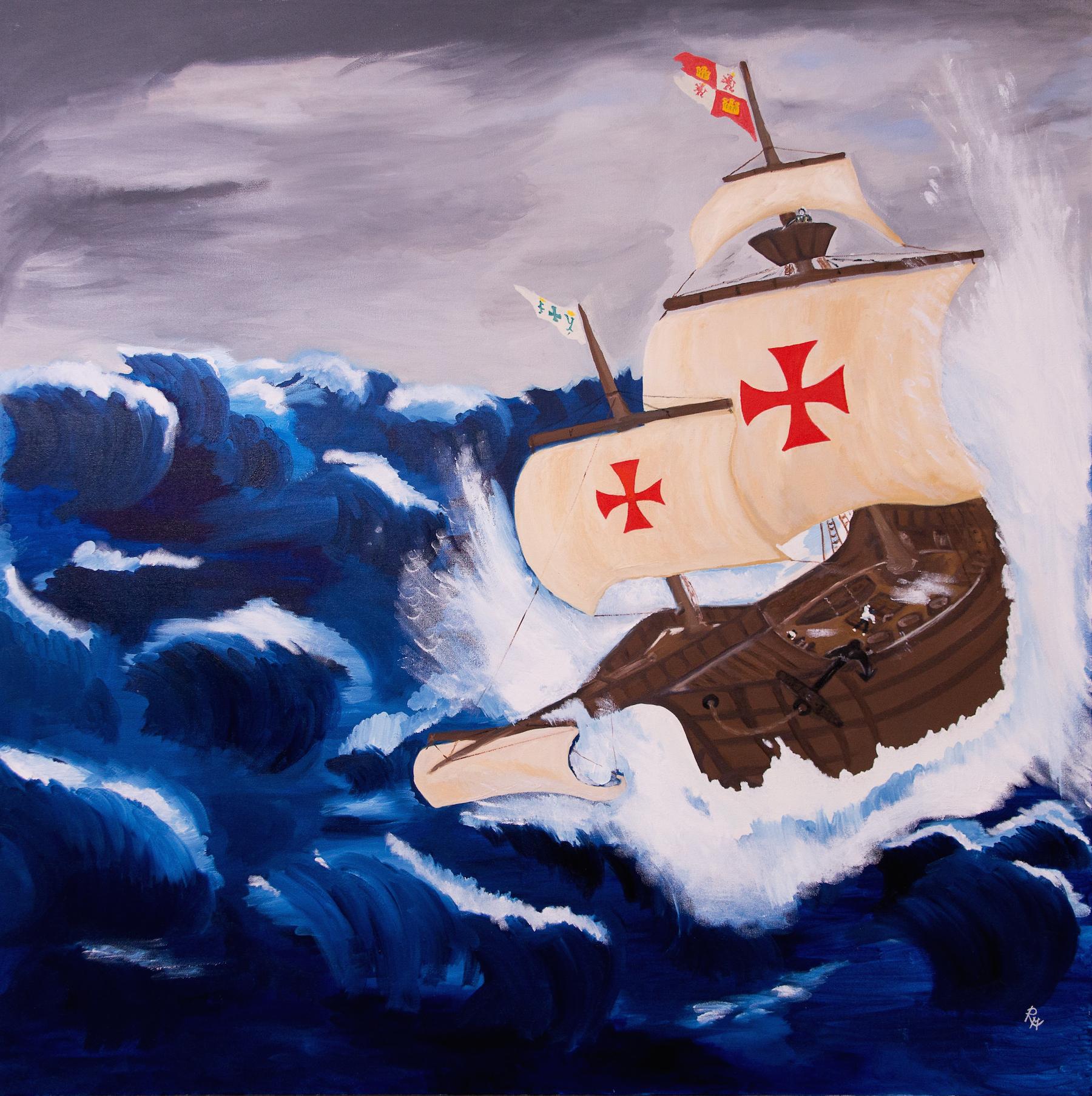 La Santa-Maria in a storm