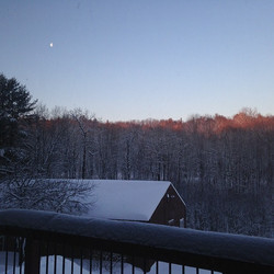 lovely snowy moon barn view