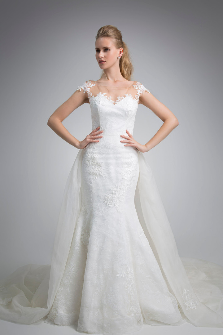 Angel Rivera Bridal Gown Front with Detachable train