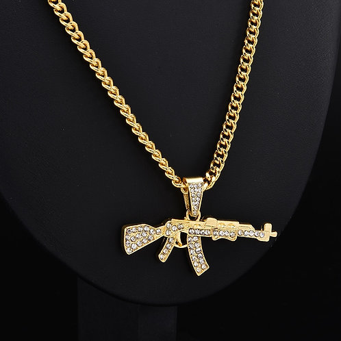 Rifle Crystal Rhinestone Chain Necklace Women
