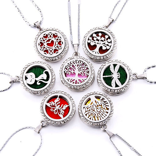 10 Styles Aroma Locket Necklace Magnetic  Aromatherapy Essential Oil Diffuser