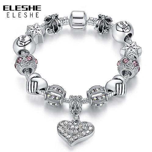 ELESHE Luxury Brand Women Bracelet Silver Color Crystal Charm Bracelet