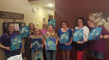 A private painting party hosted with friends in perham minnesota