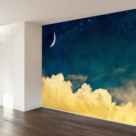 Moon slice and stars