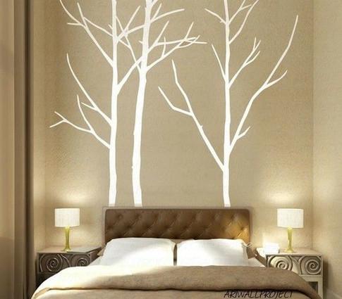 white trees on dark wall
