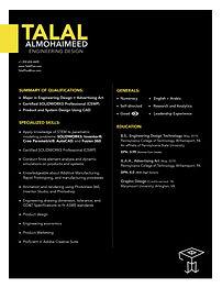 Resume - indesign - Engineering Design (