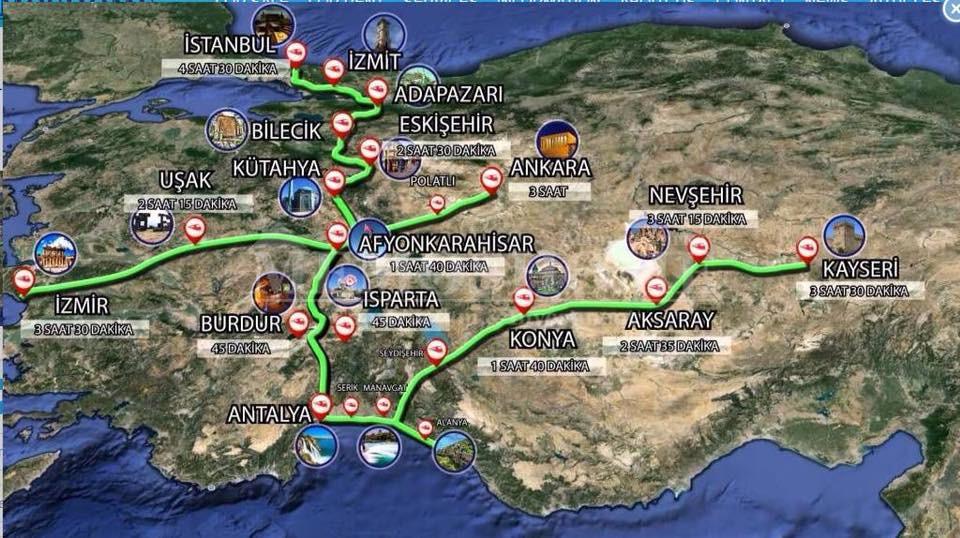 Карта скоростных железных дорог, на которой уже есть Аланья!