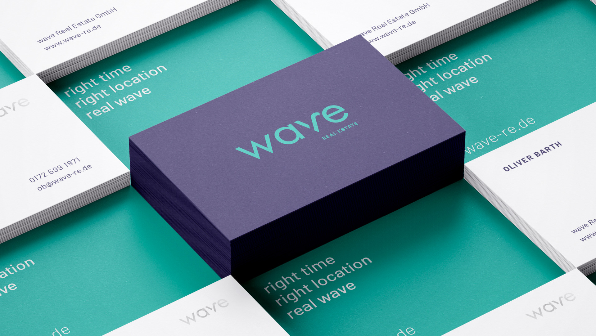 wave Real Estate Corporate Design Visitenkarten