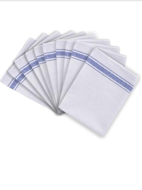 White Cotton Tea Towel - White - Pack of 10