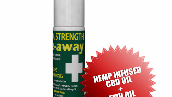 EEZAWAY 3 Ounce Extra Strength Roll On Bottle (w/Hemp Infused Oil & Emu Oil)