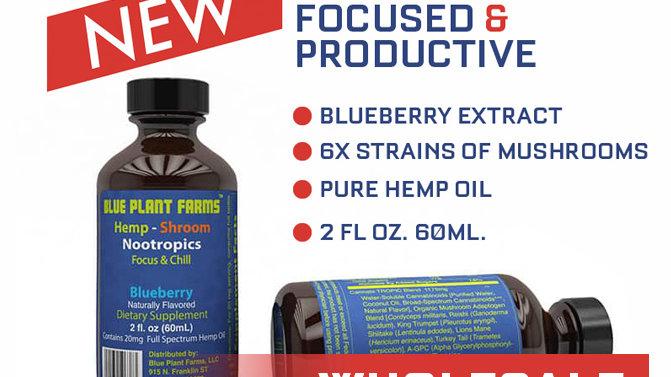 WHOLESALE | NOOTROPIC Blueberry Hemp-Shroom Nootropic Shot (48 pack)