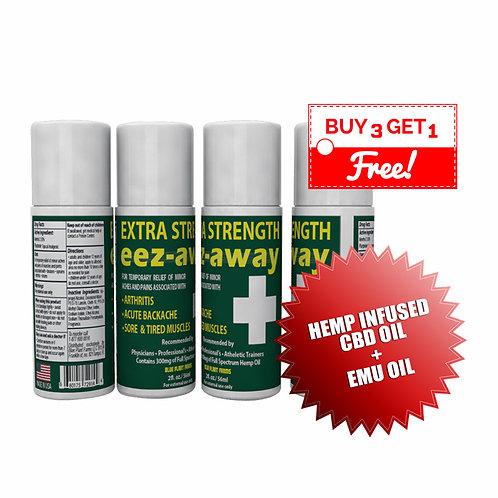 EEZAWAY [BUY 3 & GET 1 FREE] 3 Ounce Extra Strength Roll On Bottle (w/Hemp Infus