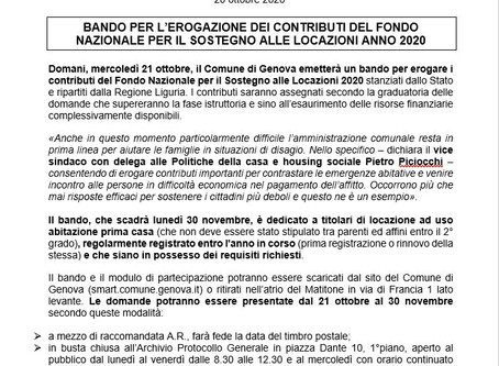 Genova: Bando per l'erogazione dei contributi del Fondo Nazionale per il Sostegno alle Locazioni