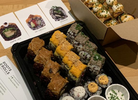 Degustacion de Sushi Roots & rolls Vegan