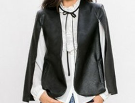 """The Signature """"Bombshell"""" Faux Leather Cape Blazer"""