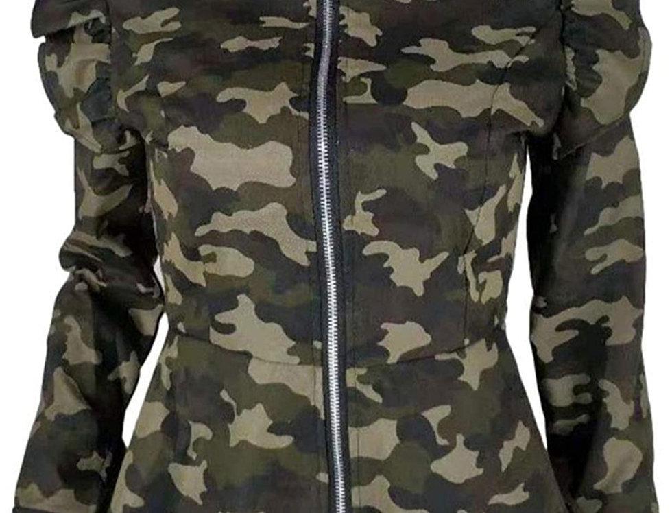 Ruffle Jacket - Camo