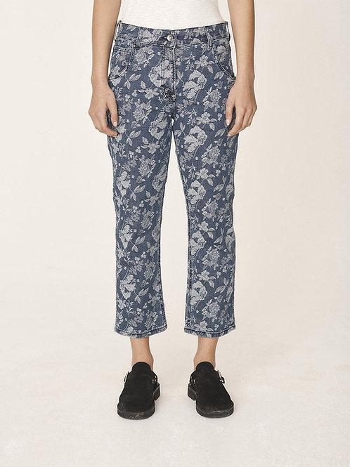 YMC, Geanie Jeans, Indigo Denim  Floral Jaquard