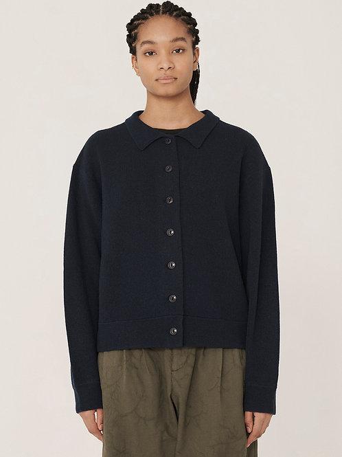 YMC Rat Pack Merino Wool Pique Knit Cardigan, navy