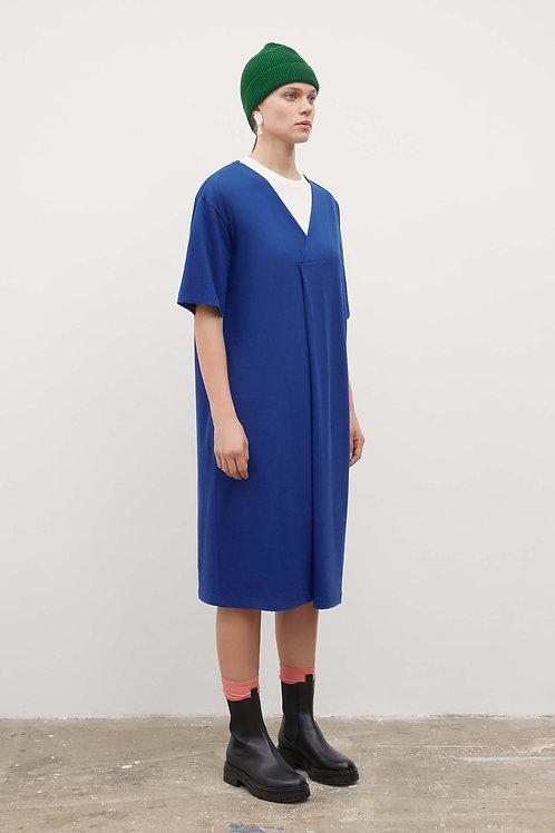 Kowtow, V Neck Pleat Dress, Bright Blue