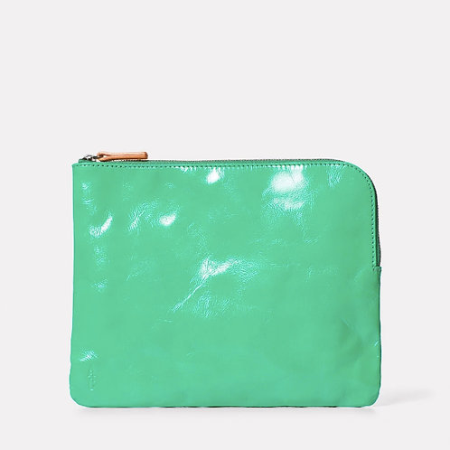 Ally Capellino Large Hocker, patent leather pouch in green