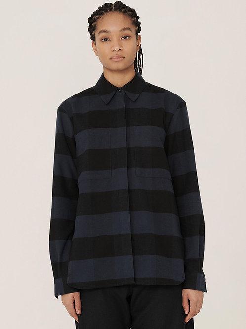 YMC  Work Cotton Stripe Shirt, navy/black