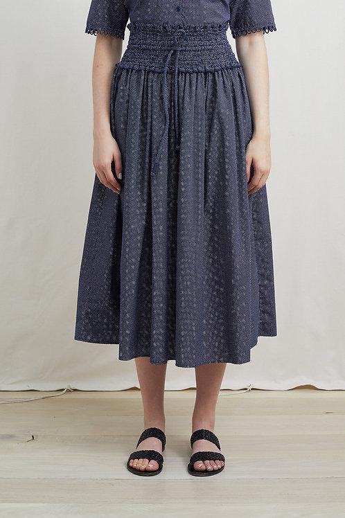 Apiece Apart Nueva Waba Sabi Skirt, navy polka dot