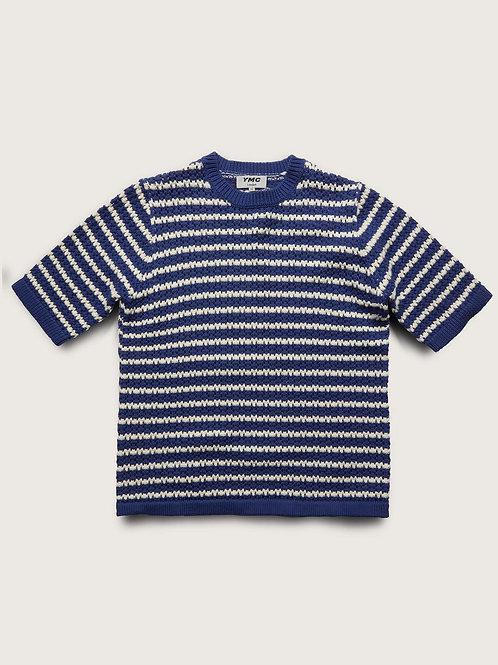 YMC, Bloc Cotton Cashmere Striped Top, Blue Ecru