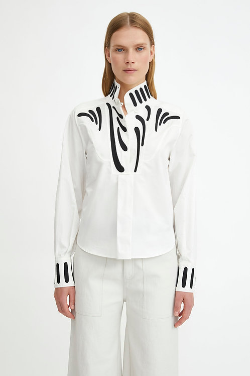 Rodebjer Taresa Shirt, white with black embroidery
